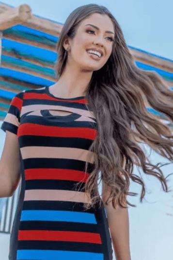 Vestido Malha Crepe Listrado - Moda Evangélica Luciana Pais (93152 T)