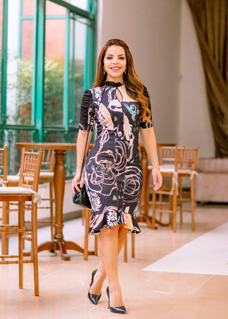 Vestido Malha Montaria Detalhes Chiffon - Luciana Pais (92737 T)