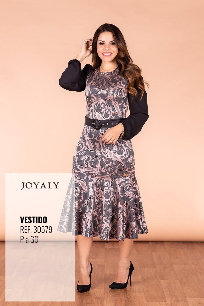Vestido Midi C Babado - Moda Evangélica Joyaly (30579 E)