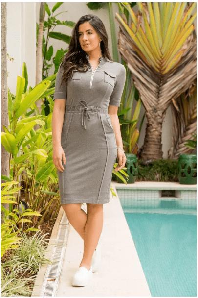 Vestido Moletom Com Bolso - Moda Evangélica Luciana Pais (92874 T)
