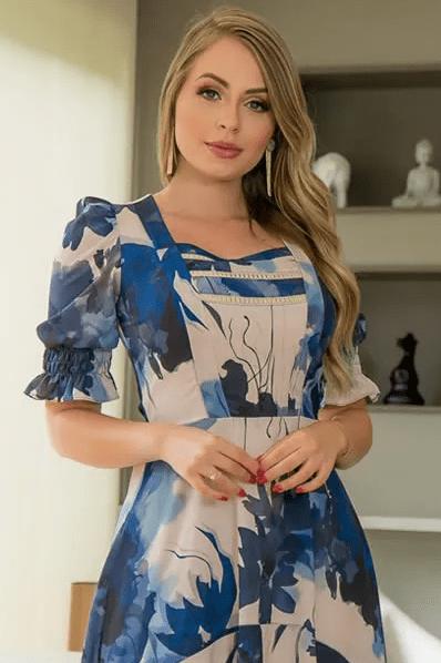Vestido Mullet Em Crepe - Moda Evangélica Kauly (2962 E)