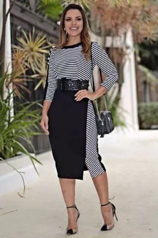 Vestido P&b Crepe C Cinto - Moda Evangélica Kauly (2648 E)