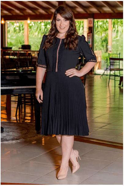 Vestido Plissado Alfaiataria - Moda Evangélica Kauly (3078-82 T)