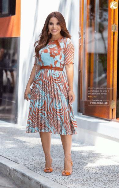 Vestido Plissado - Moda Evangélica Kauly (2755 E)