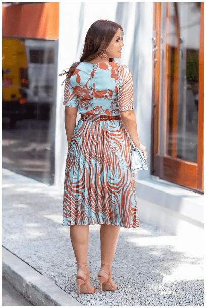 Vestido Plissado - Moda Evangélica Lançto Kauly (2755 E)