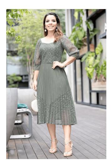 Vestido Plissado Verde  - Moda Evangélica Kauly (2709 E)