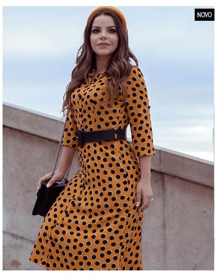 Vestido Poa Madame Paris - Lançamento Joyaly (30488)