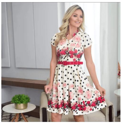 Vestido Em Crepe C Cinto - Moda Evangélica Maria Amore (2279 E)