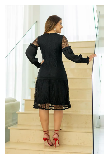 Vestido Renda Detalhes em Renda Entremeio - Kauly (2788 E)