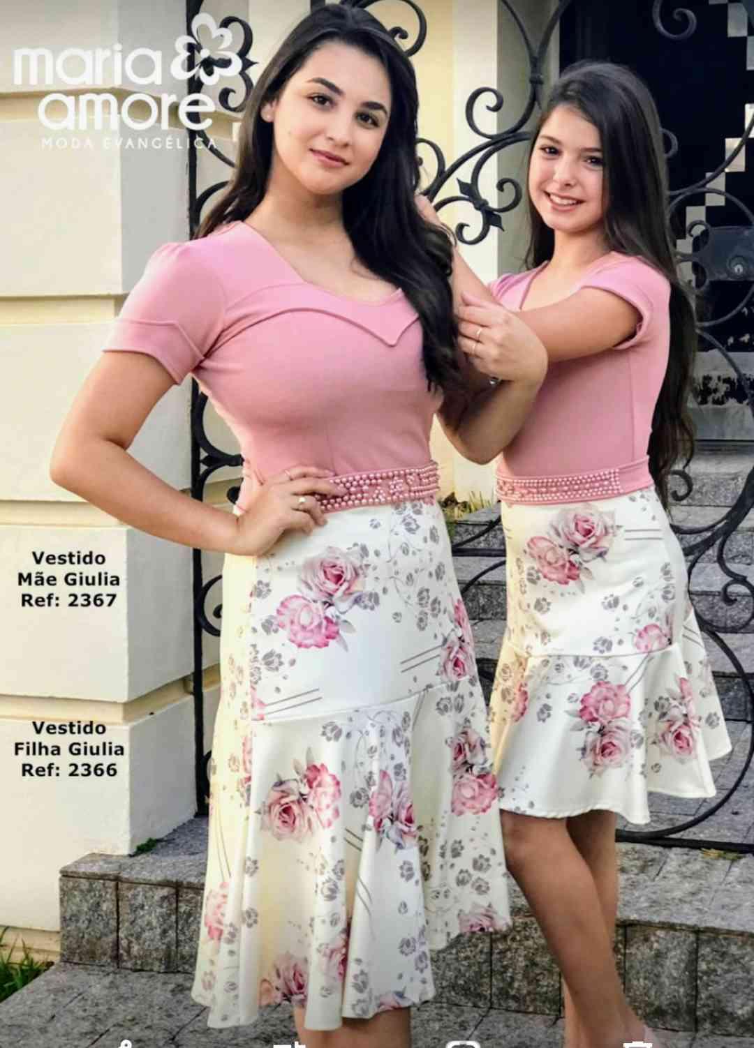 Vestido rose c/saia bege estampada e cinto bordado - Giulia