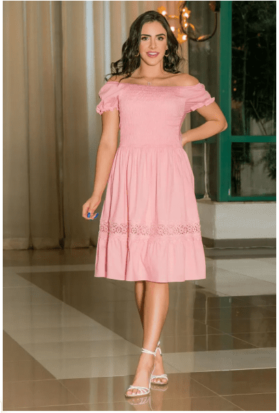 Vestido Tricoline e Elastex - Moda Evangélica Luciana Pais (92912 T)