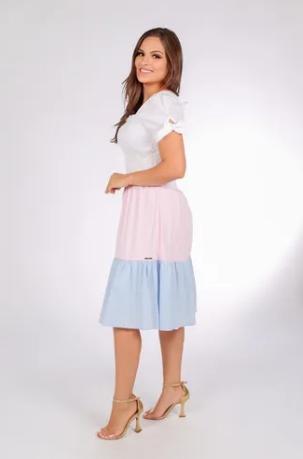 Vestido Tricolor Manga Curta - Moda Evangélica joyaly (30899 E)