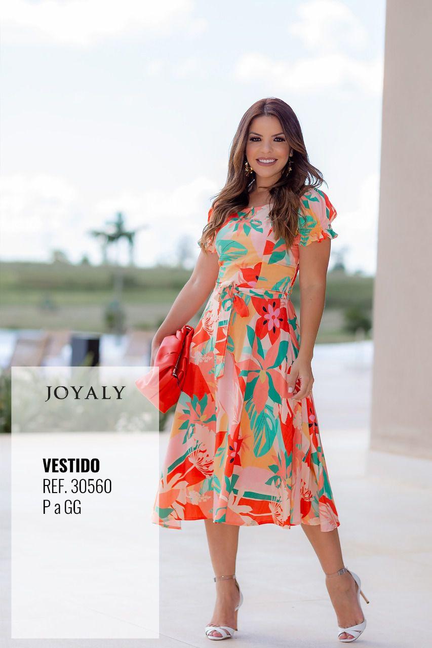 Vestido Tropical - Moda Evangélica Lançamento Joyaly (30560)