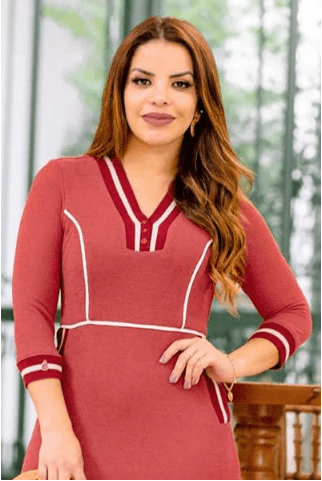 Vestido Tubinho Decote V em Malha - Luciana Pais (92750 T)