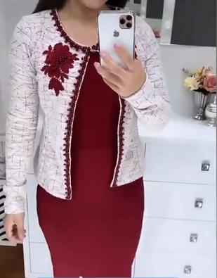 Vestido Tubo Com Casaco Bordado - Lançto Maria Amore (3158 E)
