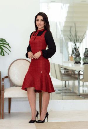Vestido Em Poliéster - Moda Evangélica Joyaly (30614 E)