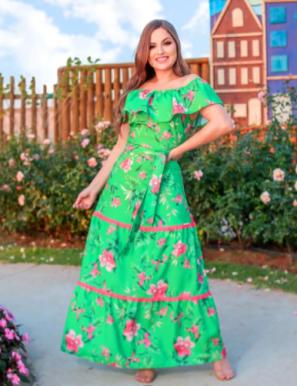 Vestido Tubo Poliéster - Moda Evangélica Joyaly (31111 E)