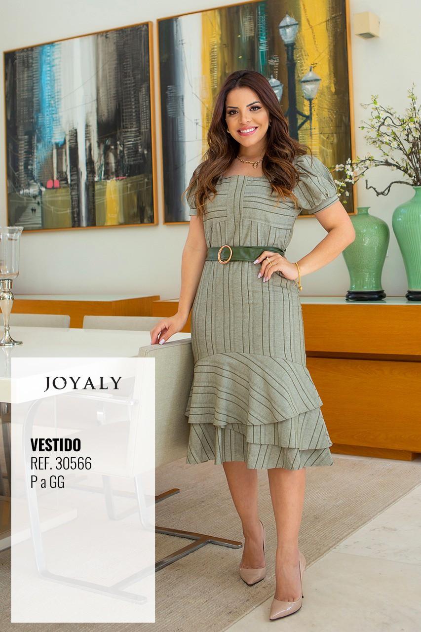 Vestido Tubo Sarja Ecológica Com Cinto - Lançto Joyaly (30566 T)