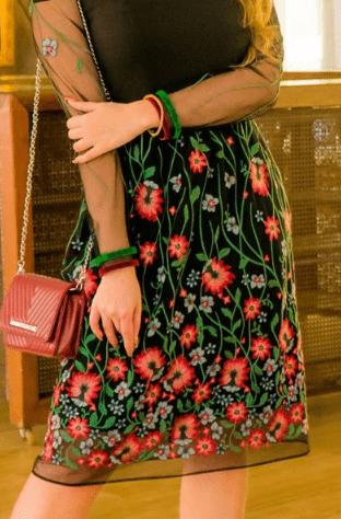 Vestido Tule Bordado Detalhes Fita de Veludo - Kauly (2870 T)
