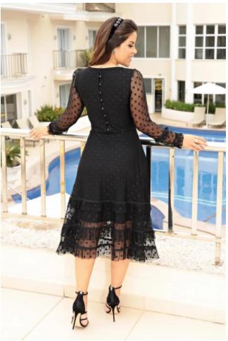 Vestido Tule Poa - Moda Evangélica Luciana Pais (92642 E)