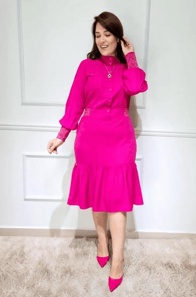 Vestido Em Viscolinho - Moda Evangélica Kauly (3109-3110 E)