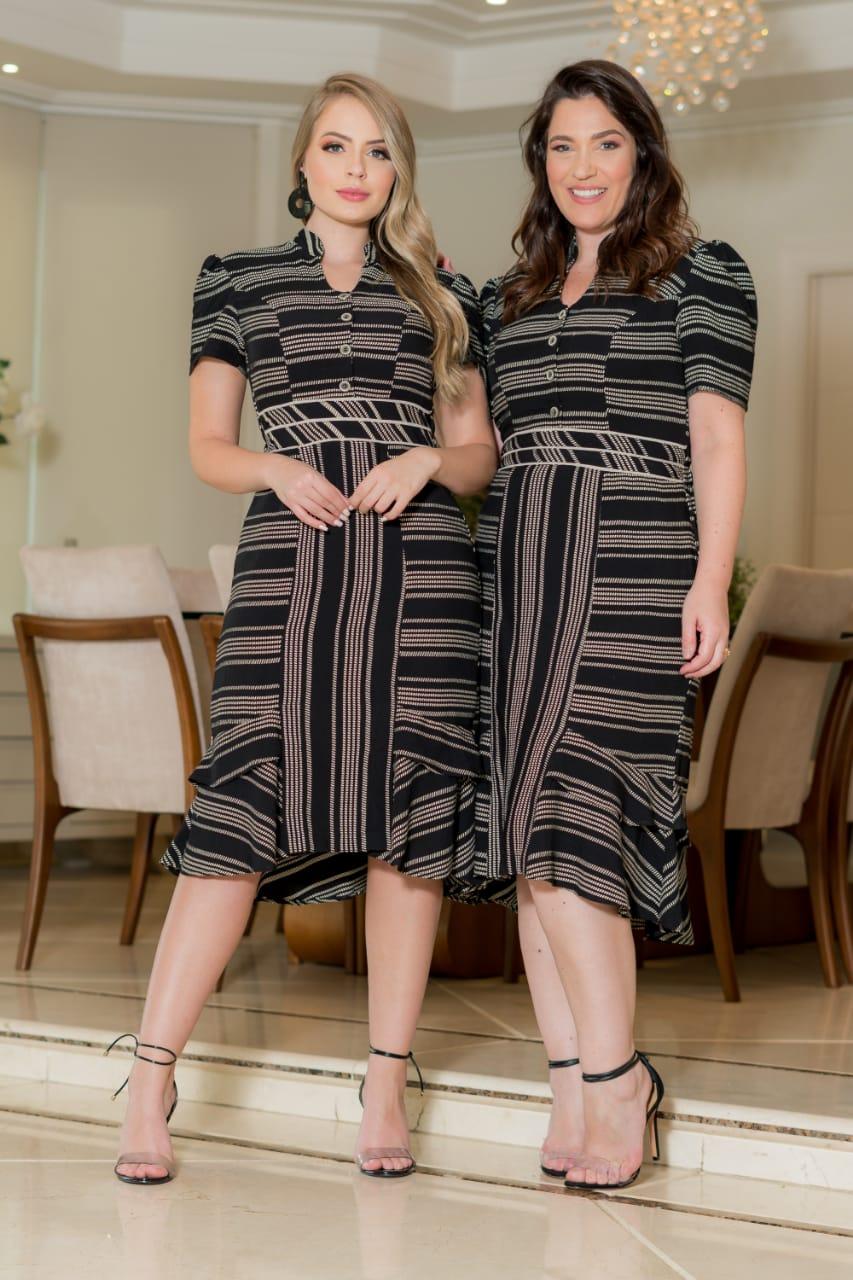 Vestido Viscose Bordado - Moda Evangélica Kauly (2912 T)