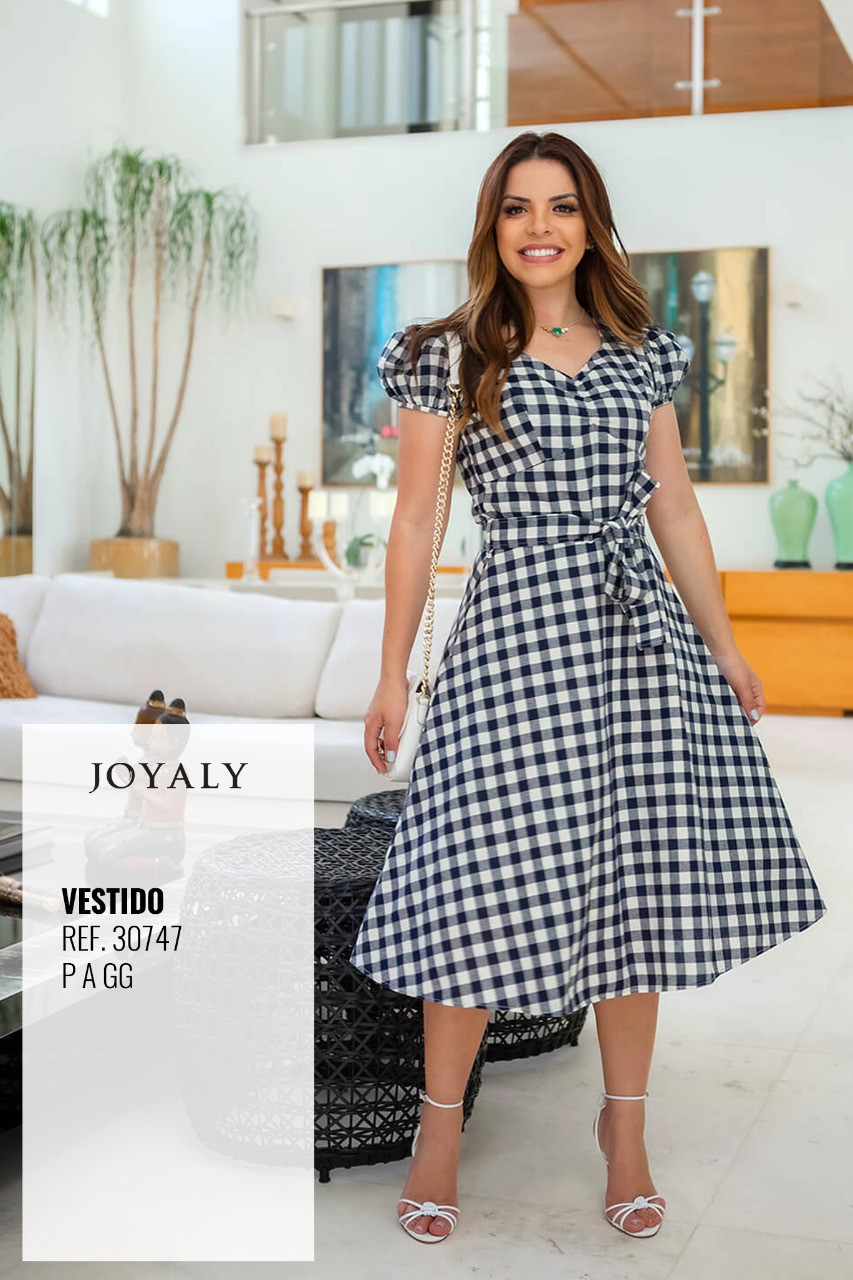 Vestido Xadrez Vichy - Moda Evangélica Joyaly (30747 T)