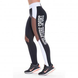 Calça Legging  Fitness com Cos Alto Roupa de Academia