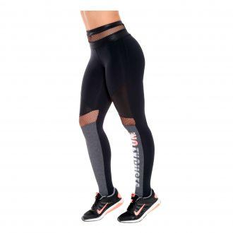 Calça legging em suplex texturizado com detalhe silk na perna