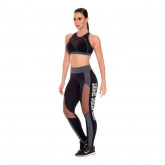 Conjunto top e legging Confort Plus com calça em Suplex texturizado