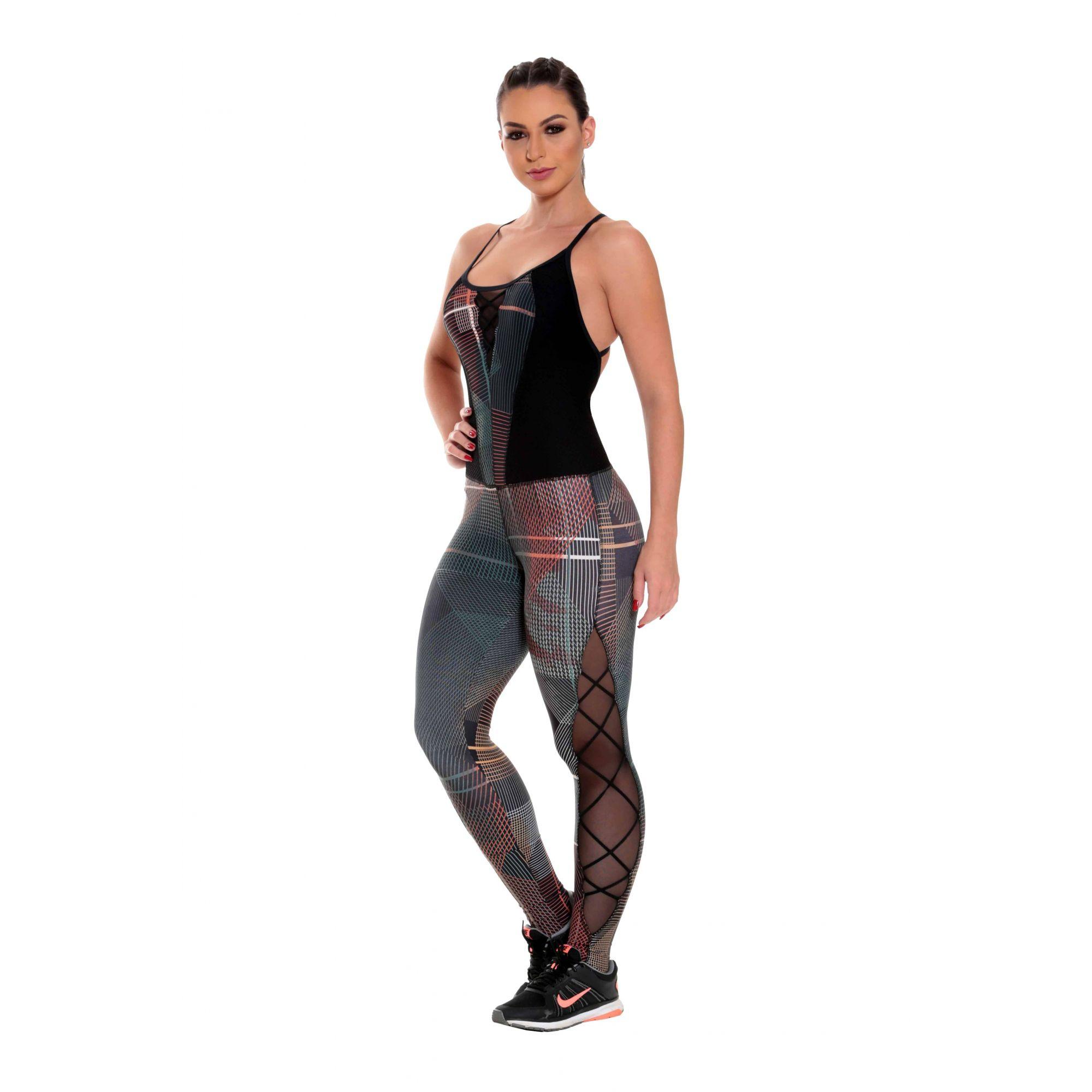 Macacão Fitness Feminino Roupa de Academia Estampa Digital