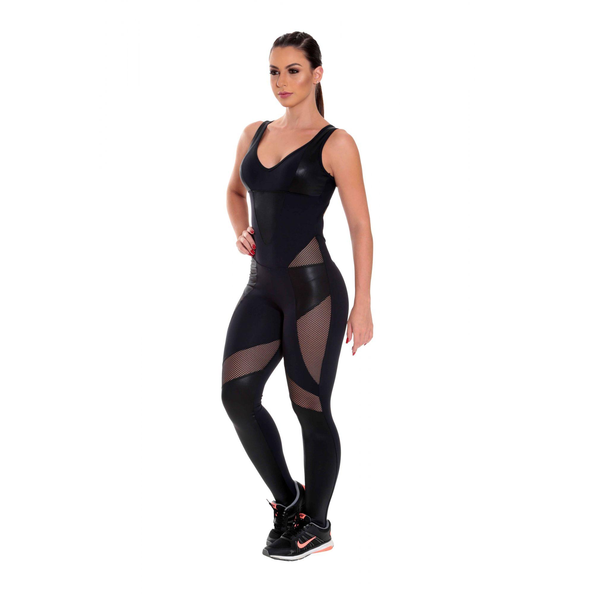 Macacão Fitness Longo Bojo Fixo Suplex Roupa de Academia Moda Feminina
