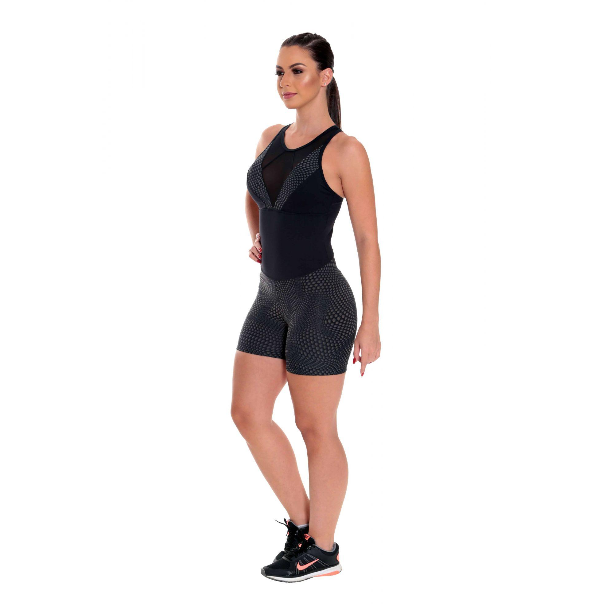 Macaquito Fitness Feminino Curto Roupa de Academia