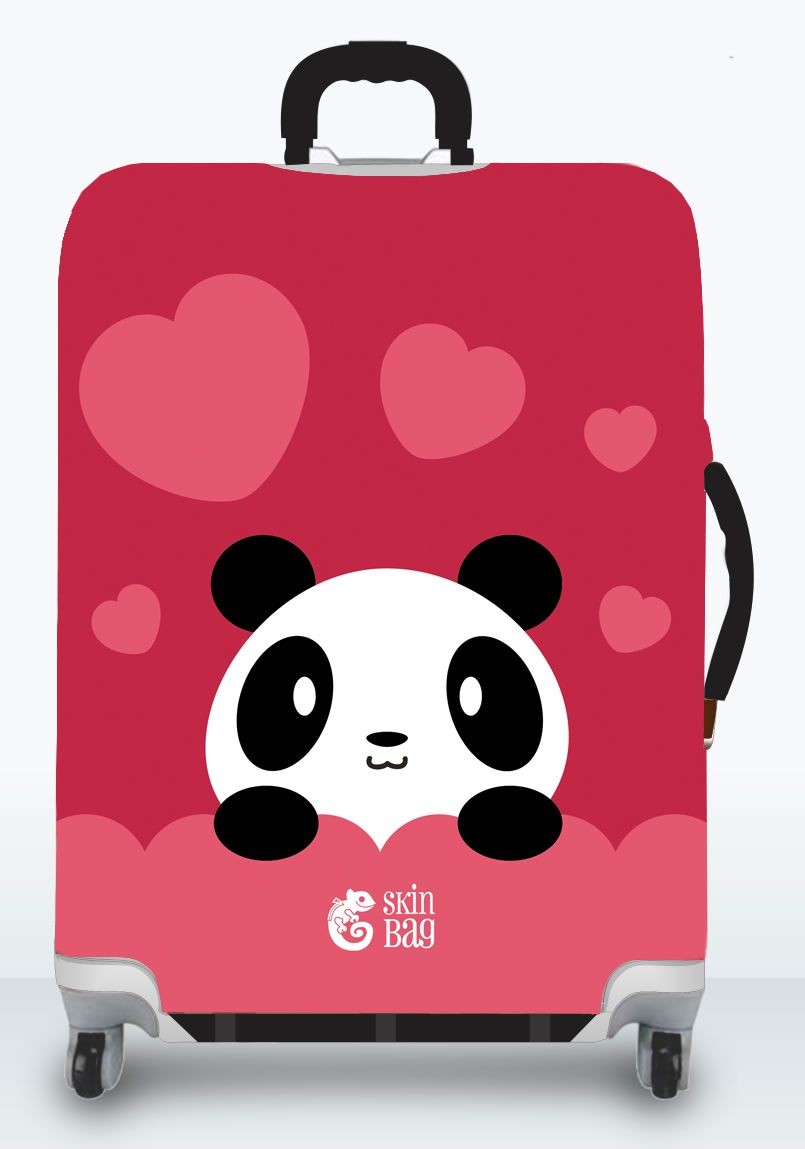 Capa Para Mala Amor de Panda + Identificador de Bagagem