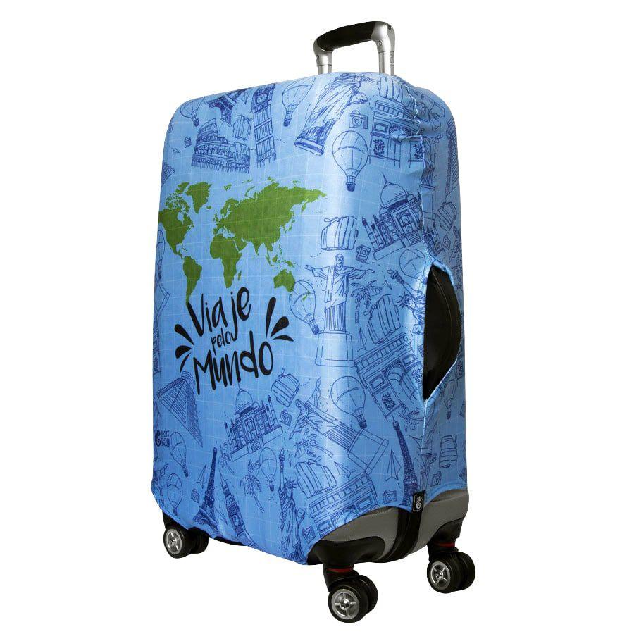 Capa Para Mala Viaje pelo Mundo + Identificador de Bagagem