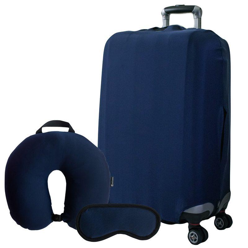 Kit Especial Azul Marinho - Com Capa para mala, Almofada e Máscara de dormir