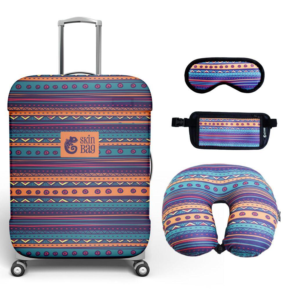 Kit de Viagem Cuzco - Capa para Mala, Almofada de Pescoço, Tapa-Olho e Doleira