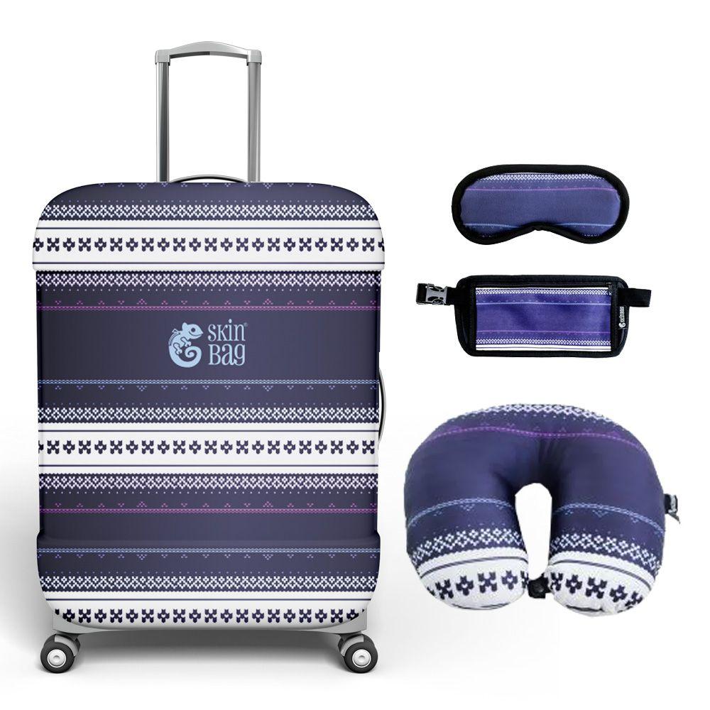 Kit de Viagem Potosi - Capa para Mala, Almofada de Pescoço, Tapa-Olho e Doleira
