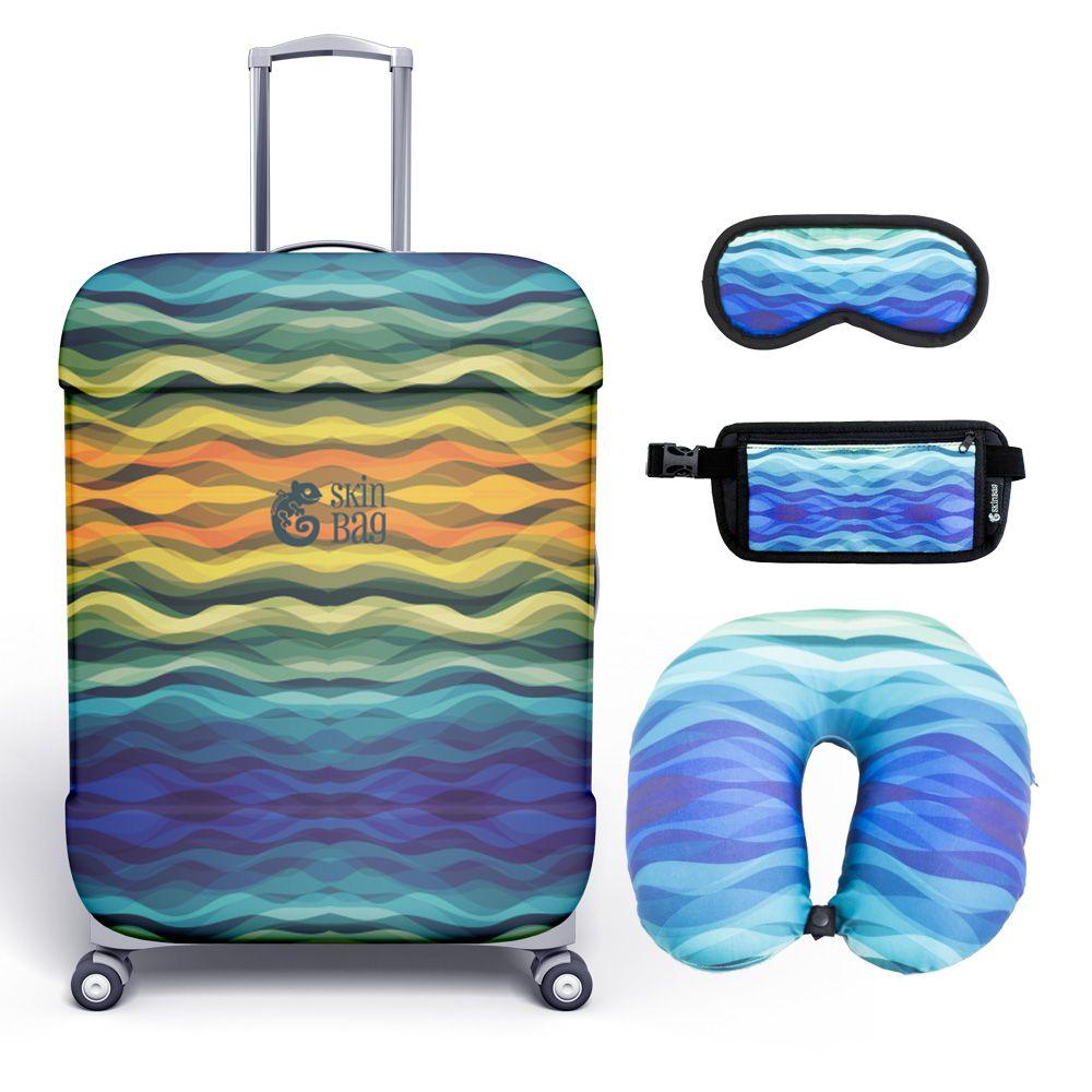 Kit de Viagem Waves - Capa para Mala, Almofada de Pescoço, Tapa-Olho e Doleira