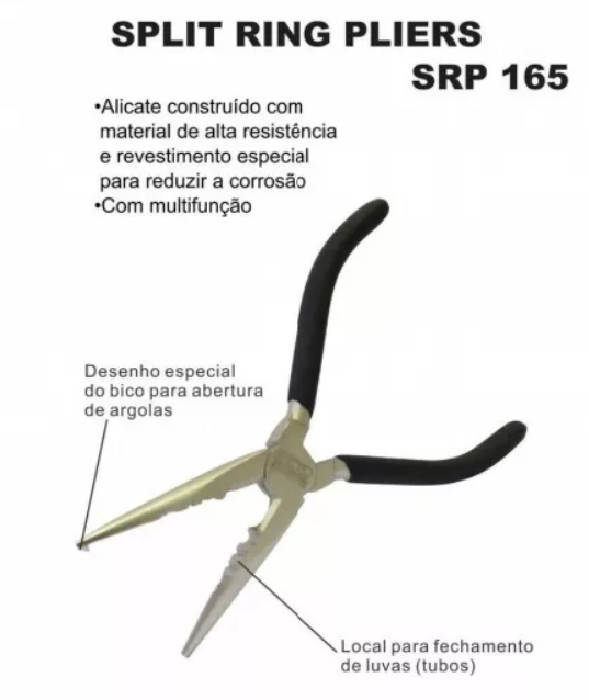 Alicate Pesca Bico Longo SRP-165 Split Ring Troca Anzol - Marine Sports