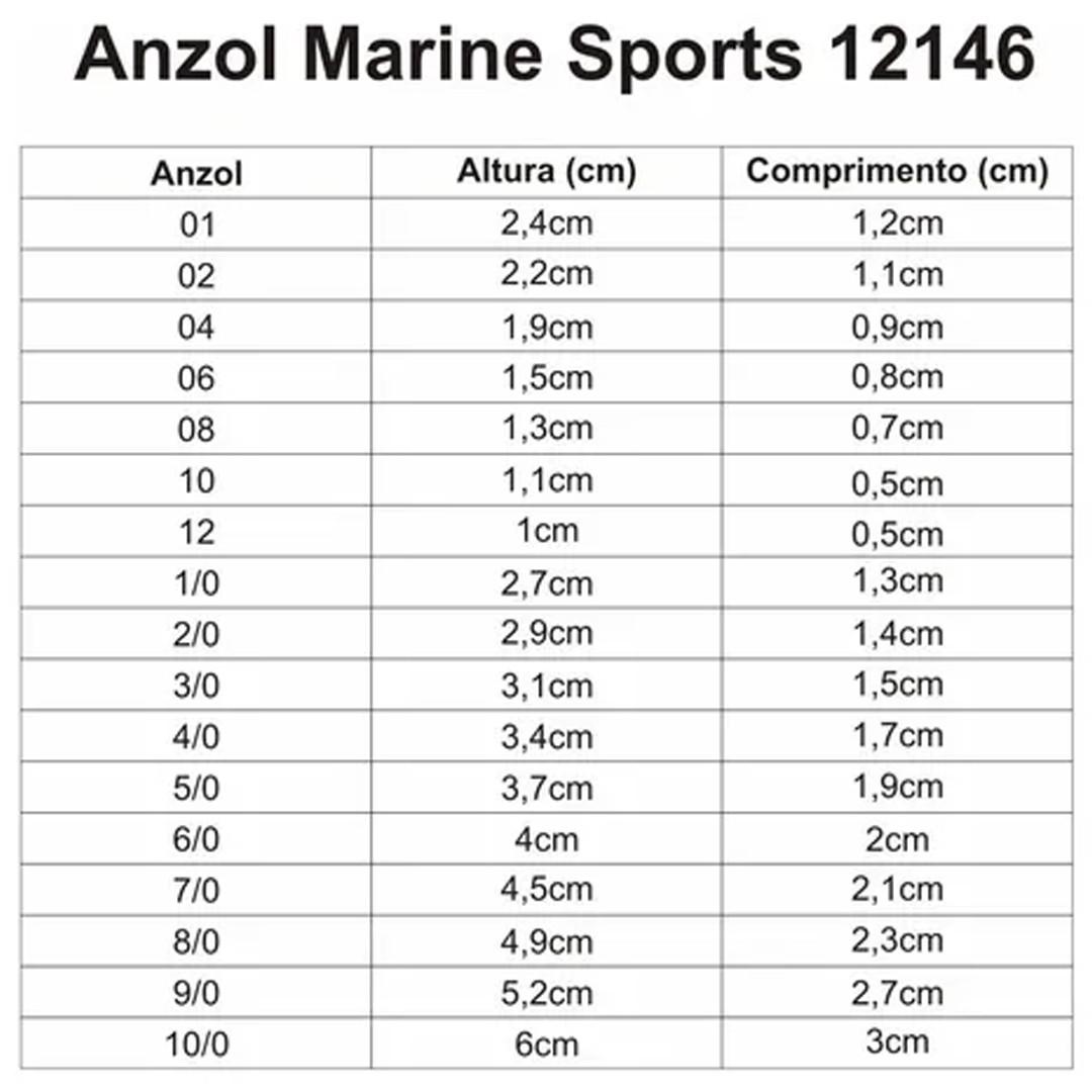 Anzol Pesca Marine Sports 12146 N°12 (1,0cm) Black 50 Peças