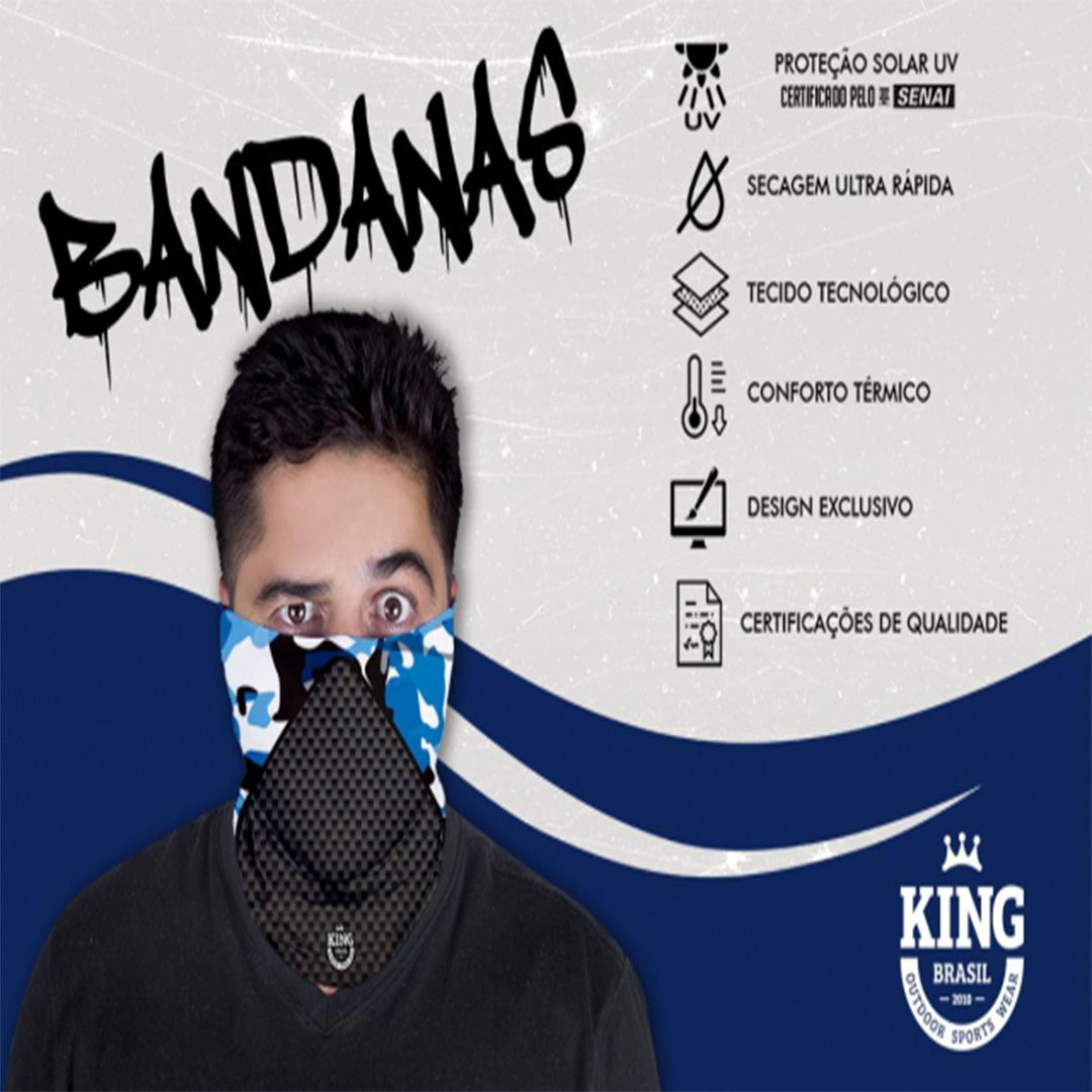 Bandana Mascara Pesca King com Proteção Solar UV 635 Azul