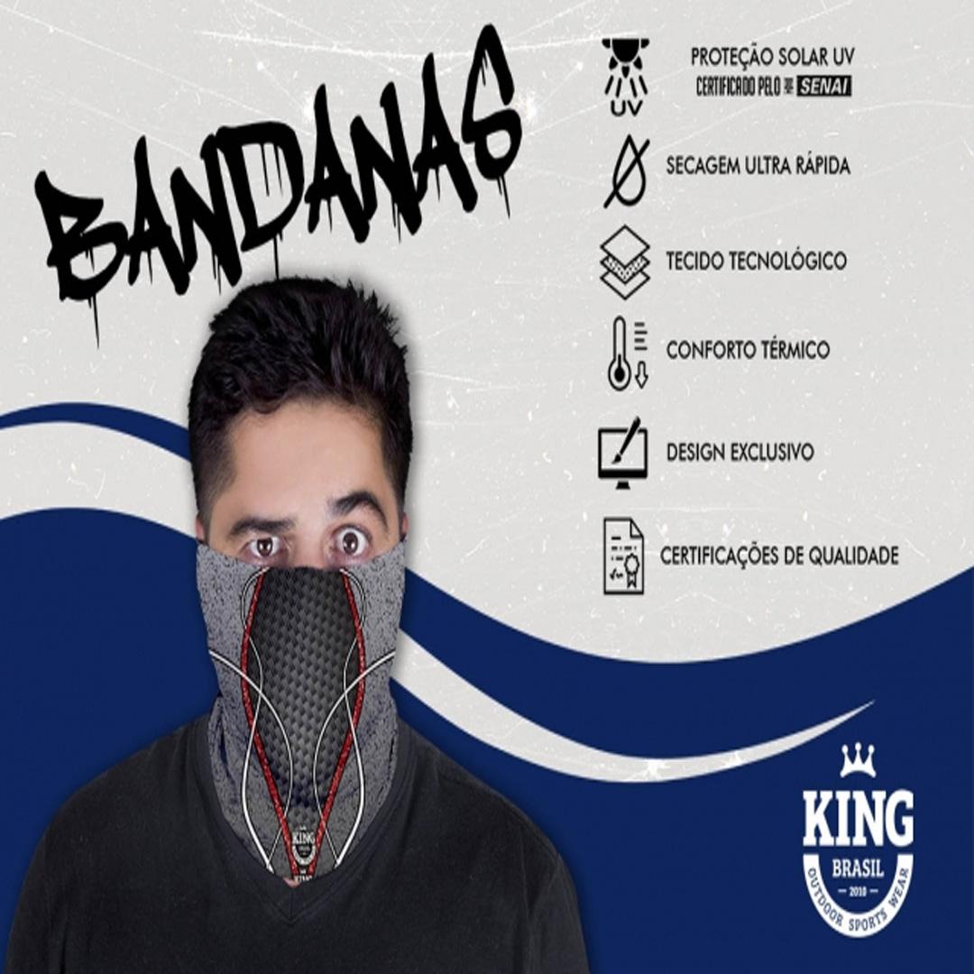 Bandana Mascara Pesca King com Proteção Solar UV 636 Cinza