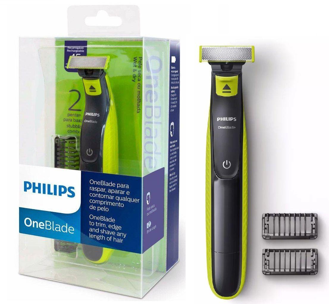 Barbeador Aparador Elétrico Recarregavel Philips One Blade QP2521/10