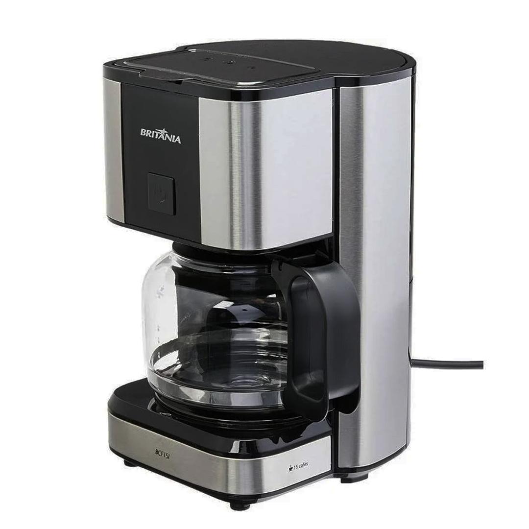 Cafeteira Elétrica Britânia BCF15I c/ Filtro Permanente Lavável 550W Preto Inox