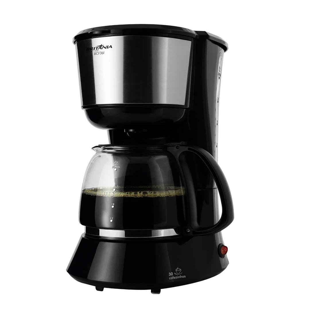 Cafeteira Elétrica Britânia BCF36I 30 Cafezinhos Filtro Lavável 750W Preto Inox