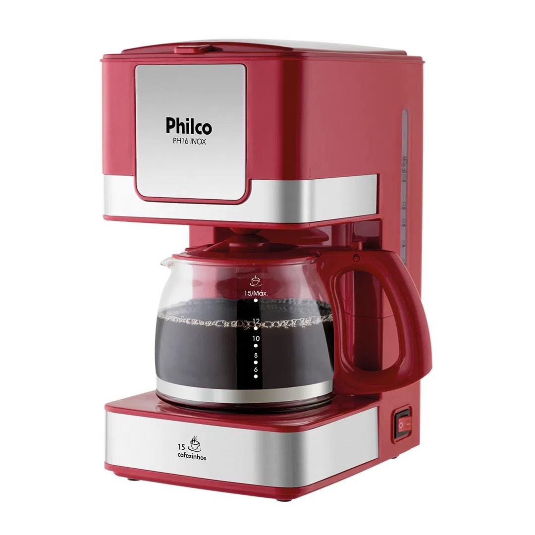 Cafeteira Elétrica Philco PH16 Corta Pingo c/ Placa de Aquecimento Vermelha Inox