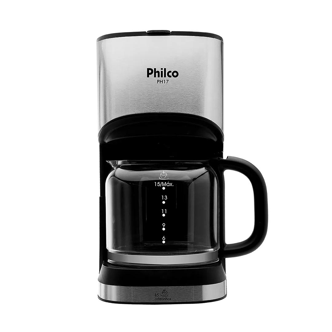 Cafeteira Elétrica Philco PH17 Corta-Pingo c/ Placa de Aquecimento Preta Inox