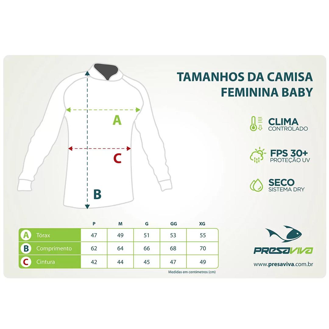 Camiseta de Pesca Feminina Presa Viva com Proteção Solar UV30+ PV 08 Flowers