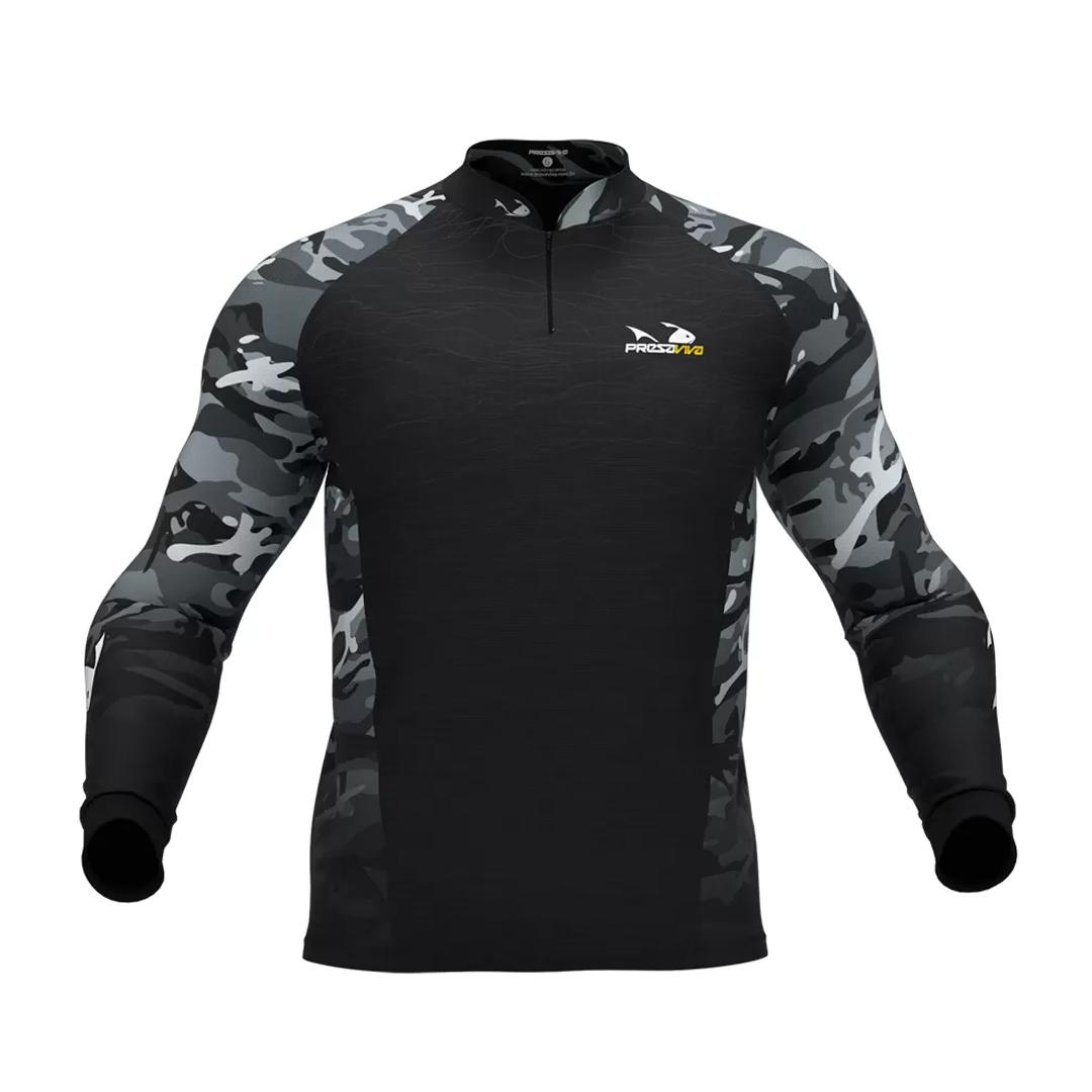 Camiseta de Pesca Masculina Presa Viva com Proteção Solar UV30+ Camuflado